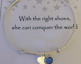 Sterling Silver Hand Stamped Initial & Birthstone Extendable Bangle