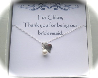 Bridesmaid Sterling Silver Stamped Heart & Freshwater Pearl Necklace