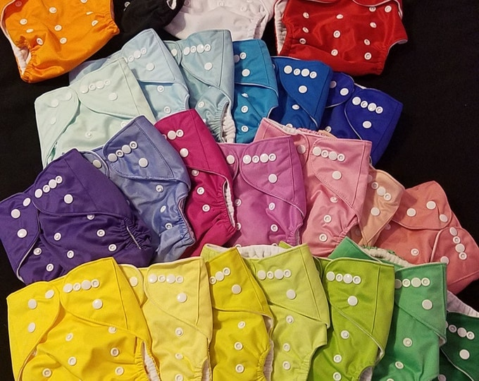 Featured listing image: Buy 3 get 1 FREE OS Solid Color Cloth Pocket Diaper