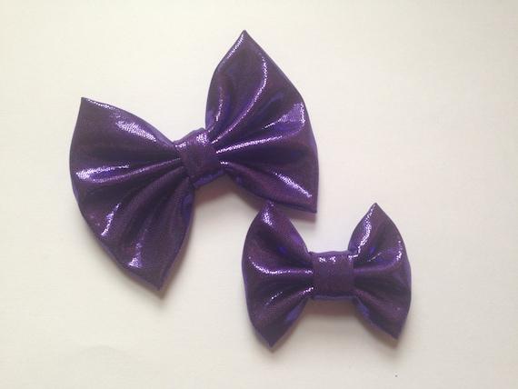 Metallic Purple handmade fabric bow clip or headband