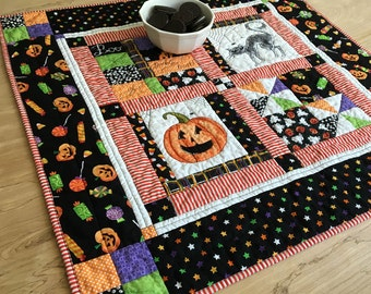 Quilted Halloween Table Topper, Patchwork Pumpkin Centerpiece, Black and Orange Candle Mat with Spooky Cat, Wall Hanging