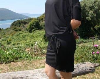 Bat sleeves viscose dress
