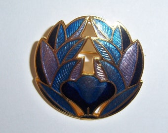 Cloisonne Brooch. Small Cloisonne Pin. Blue Cloissone. Purple Cloissone. Cloissone Jewelry.