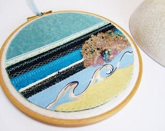 Seascape Hoop Art, Textile Art, Ocean Art, Seaside Art, Mixed Media Sea, Fibre Art, Original, Affordable Art, Gift Idea, UK Seller