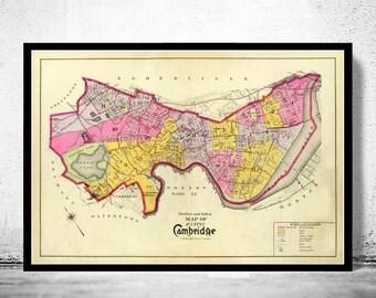 Old Map of Cambridge Massachusetts 1890