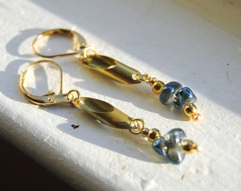 Blue and Gold Cylinder Earrings