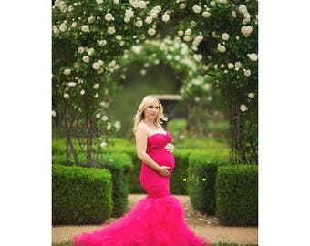 CHARLOTTE Maternity Dress for Photo Shoot/Maternity Gown/ SWEETHEART neckline/ FITTED/ tulle mermaid  /