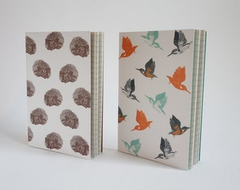 Pack of 2 A6 notebooks - Hedgehog & Kingfisher