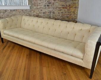 Elegant Mid Century Modern Tufted Sofa with Ebonized Frame
