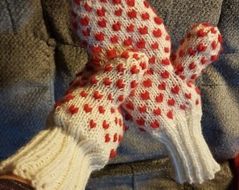 Custom knit, thrum mittens, warm, adult sizes