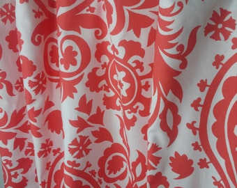Suzann Coral & White Fabric Window Treatment Curtain Rod Pocket Draperies