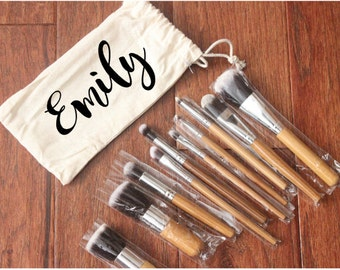 PERSONALIZED or CUSTOMIZED Canvas Make-Up Bag with 11 Make Up Brushes Set