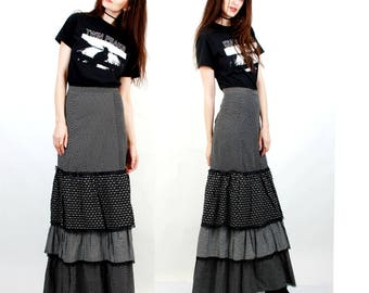 Vintage Gypsy Skirt / Long Skirt / Maxi Cotton Skirt / Boho Skirt / Hippie Skirt / Printed Skirt  Size S