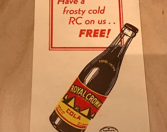 Vintage RC cola promotional coupon card.