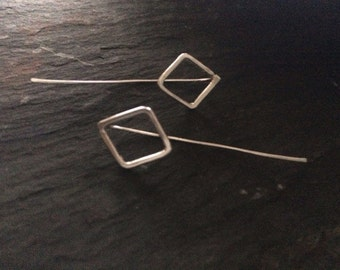 Silver Threader Earrings, Threader Earrings, Modern Silver Earrings, Long Threader Earrings, Geometric Earrings, Minimalist Earrings