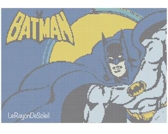 Modern cross stitch pattern vintage Batman portrait Marvel superhero - PDF Instant download