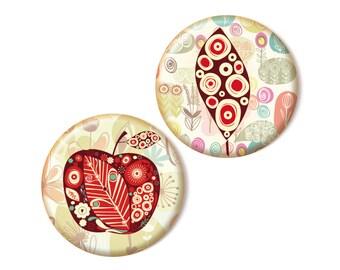 2 magnets, Apple & Leaf