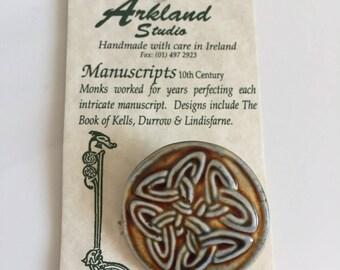 Celtic Irish Pottery Pin Brooch Handmade.