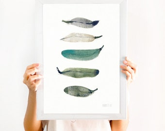 Art of Feather Print. 5 feather giclee print from original watercolor painting by Annemette Klit - watercolor print. 5 green bird feathers