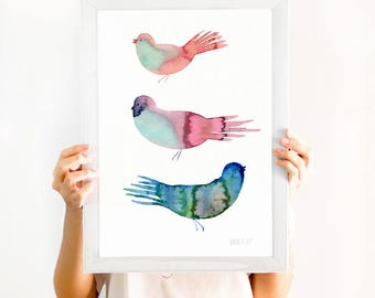 Watercolour painting of 3 birds. Watercolour nursery art print. Modern minimalist bird giclee print. Bird Watercolor poster. Bird painting.
