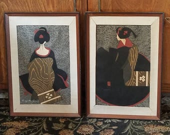 Pair of Japanese Woodblock prints Kiyoshi Saito  Maiko Kyoto mid century modern contemporary Ukiyo-e prints 1967 earthtone charcoal red hues