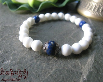 Conch Shell beads with Capped Lapis Lazuli bead mala bracelet purified & blessed mala.