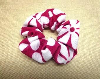 SALE Pink and White Scrunchie, Fuchsia Hair Scrubchie, Pink Hair Tie, Women Hair Accessory, Girl Hair Scrunchie, Summer Hair Tie, Scrunchie