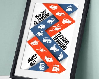 Top Gear The Grand Tour - Jeremy Clarkson Richard Hammond James May Art Print Wall Decor Typography Inspirational Poster Movie TV