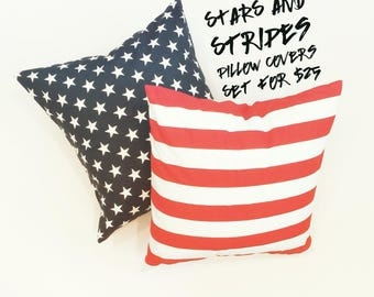 Navy blue with stars and red striped Pillow Cover