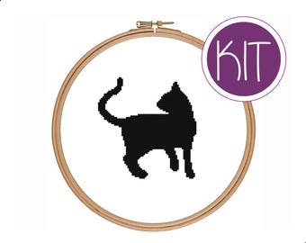 Cat Cross Stitch KIT, Cat Silhouette Counted Cross Stitch KIT by Peppermint Purple