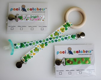 SALE! St. Patrick's Day Paci-Catchers, Multiple Designs! | St. Patricks Day Pacifier Clip | Green Pacifier Leash | Pinch Proof Paci Leash