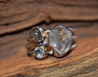 Handmade Sterling Silver Herkimer Diamond, Labradorite and topaz Ring 7.5