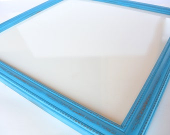 Turquoise Square Frame White Board, Whiteboard, Dry Erase Board, Office, Gifts, Bulletin Board, Message Board, Wedding Sign, Photo Prop