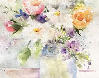 Flowers bouquet pastel floral vase roses daisies large original watercolor painting