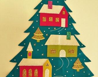 Hand Sewn, Vintage, Christmas Tree Shaped Felt Wall Hanging