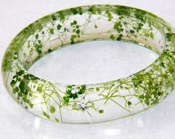 Terrarium  Bracelet, Real Flower Resin Bracelet, Resin Bangle,Pressed Flower Bracelet, Boho Jewelry, Green Bracelet,