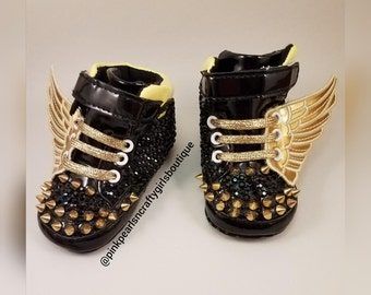 Baby Rhinestone Shoe With Wings