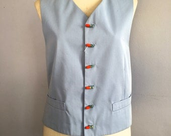 Vintage Moschino Cheap and Chic pill button vest vtg Cheap & Chic waist coat pills capsule button vest Moschino cotton vest men's waistcoat