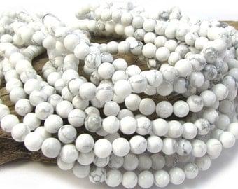 White Howlite Beads, Natural White Howlite 6mm Beads, 16 inch Strand, 6mm White and Gray Beads, Beading Supplies, Item 1182pm