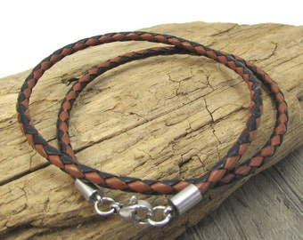 Black and Brown Leather Bolo Necklace, 3mm Braided Leather Necklace, Custom Length Braided Bolo Necklace, Item 1217n
