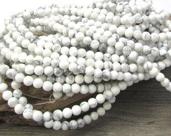 White Howlite Beads, Natural White Howlite 4mm Beads, 16 inch Strand, 4mm White Beads, Beading Supplies, Item 1220pm
