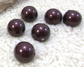 Swarovski Pearls, 10 Maroon Swarovski Beads, 14mm Round Swarovski Pearls, Purple Pearls, Beading Supplies, Item 1331p