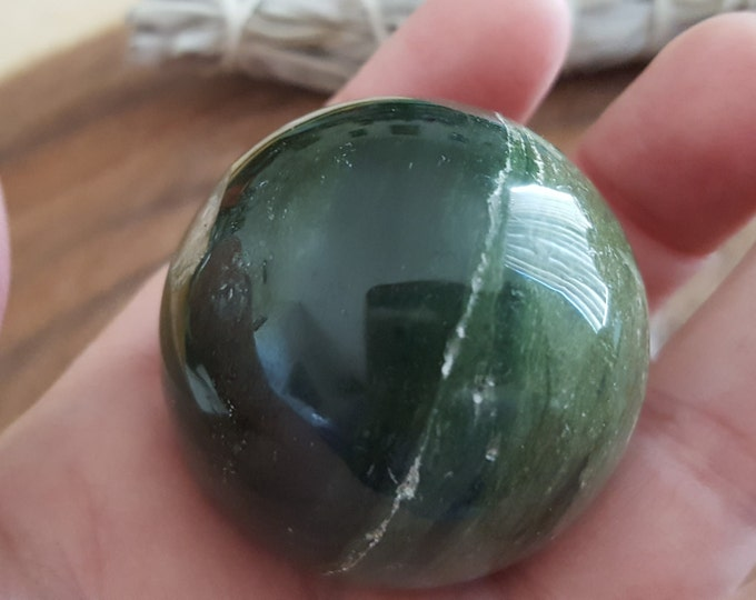 Green Sardonyx Sphere ~ one 40mm Reiki infused polished crystal ball (CB03)