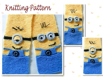 Knitting Pattern Minion Scarf character scarf animal scarf novelty scarf knit scarf neck warmer Instant Download