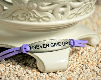 NEVER GIVE UP, Inspirational bracelet - motivational message on leather cord bracelet, stamped message jewelry