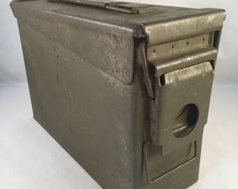 Vintage Green Metal Ammunition Box, Rustic Army Green Color Ammo Box with Latch that Snaps Tight, Rustic Metal Box