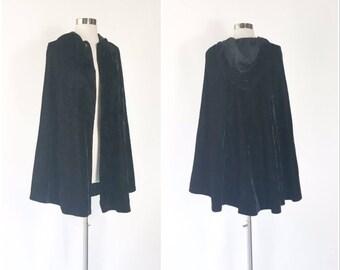 black velvet hooded cape cloak / vtg 60s opera cape / full sweep / goth vamp midi cloak