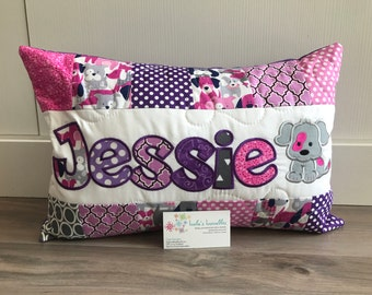 Last one!!  Puppy Pillow Case with name for girls, 12x18 inches