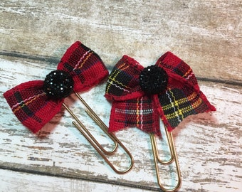 Christmas Plaid - Choice of Bow Planner Clips / Bookmarks