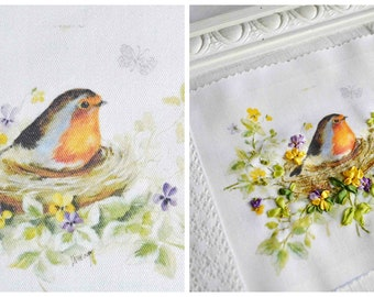 Shabby chic bird and flowers decorative quilt panel, silk ribbon embroidery pattern, shabby chic material